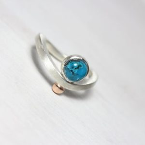 Shop Chrysocolla Rings! Chrysocolla Bezel Ring Silver 14K Rose Gold Blue Green Teal Cabochon Gemstone Wave Band Cute Gift Idea For Her Little World – Kleine Welt | Natural genuine Chrysocolla rings, simple unique handcrafted gemstone rings. #rings #jewelry #shopping #gift #handmade #fashion #style #affiliate #ad