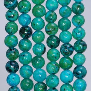 Shop Chrysocolla Round Beads! 8mm Chrysocolla Quantum Quattro Gemstone Round Loose Beads 15.5 inch Full Strand (90143252-B61) | Natural genuine round Chrysocolla beads for beading and jewelry making.  #jewelry #beads #beadedjewelry #diyjewelry #jewelrymaking #beadstore #beading #affiliate #ad
