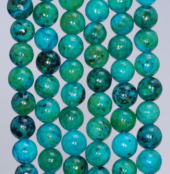 8mm Chrysocolla Quantum Quattro Gemstone Round Loose Beads 15.5 Inch Full Strand (90143252-b61)