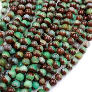 "Shop Chrysoprase Beads! Natural Bicolor Brown Green Chrysoprase Round Beads 6mm 8mm 10mm Beads 15.5"" Strand 