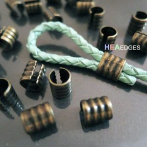 Crimp Ends – 6pcs Finding Antique Brass Smallest Adjustable Crimp Beads Round Tone Tube Curve Fold Over End Cap without Loop 7.5mm x 6mm | Shop jewelry making and beading supplies, tools & findings for DIY jewelry making and crafts. #jewelrymaking #diyjewelry #jewelrycrafts #jewelrysupplies #beading #affiliate #ad
