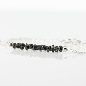 Shop Diamond Bracelets! Rough Diamond Bar Bracelet – Black Raw Diamonds Bracelet – Bridesmaids Gift – April Birthstone Gift Idea | Natural genuine Diamond bracelets. Buy crystal jewelry, handmade handcrafted artisan jewelry for women.  Unique handmade gift ideas. #jewelry #beadedbracelets #beadedjewelry #gift #shopping #handmadejewelry #fashion #style #product #bracelets #affiliate #ad