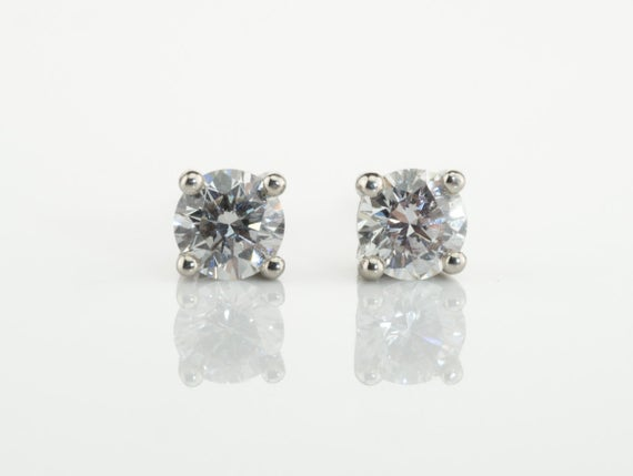 F/g White Diamonds Studs, Prong Set Diamond Earrings, White Stud Earrings, 14k White Gold, Diamond Gold Stud Earrings, Classic Diamond Studs
