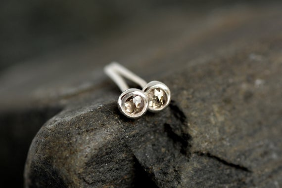 Rose Cut Irregular Shape Brown Diamond Studs. Diamond Stud Earrings. Genuine Diamond Earrings. Natural Brown Diamond Earrings.
