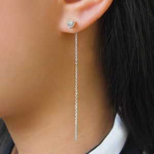 Shop Diamond Earrings! Silver Threader Earring, Silver Diamond Earring, Diamond Studs, Silver Chain, Chain Earrings, Silver Dangle Earrings, Silver Chain Threader   Natural genuine Diamond earrings. Buy crystal jewelry, handmade handcrafted artisan jewelry for women.  Unique handmade gift ideas. #jewelry #beadedearrings #beadedjewelry #gift #shopping #handmadejewelry #fashion #style #product #earrings #affiliate #ad