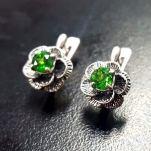 Shop Diopside Earrings! Flower Earrings, Diopside Earrings, Natural Chrome Diopside, Silver Rose Earrings, Green FlowerEarrings, Vintage Earrings, Silver Earrings | Natural genuine Diopside earrings. Buy crystal jewelry, handmade handcrafted artisan jewelry for women.  Unique handmade gift ideas. #jewelry #beadedearrings #beadedjewelry #gift #shopping #handmadejewelry #fashion #style #product #earrings #affiliate #ad