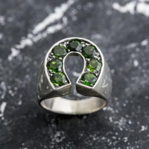 Shop Diopside Rings! Chrome Diopside Ring, Chrome Diopside, Green Ring, Lucky Charm Ring, Statement Ring, Big Green Ring, Unisex Ring, Solid Silver Ring | Natural genuine Diopside rings, simple unique handcrafted gemstone rings. #rings #jewelry #shopping #gift #handmade #fashion #style #affiliate #ad