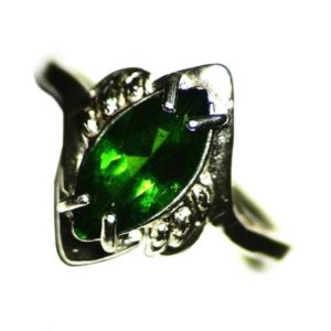 Shop Diopside Rings! Chrome Diopside Ring, Size 6 1/4 Ring (1.90 ct) Sterling Silver Anniversary Ring, Emerald Green Diopside, Marquise Solitaire Ring For Her | Natural genuine Diopside rings, simple unique handcrafted gemstone rings. #rings #jewelry #shopping #gift #handmade #fashion #style #affiliate #ad