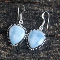 Drop Shape Blue Angelite Gemstone 925 Sterling Silver Earrings / Birthstone Jewelry / yellow Gold Filled, Rose Gold Filled Earrings | Natural genuine Gemstone jewelry. Buy crystal jewelry, handmade handcrafted artisan jewelry for women.  Unique handmade gift ideas. #jewelry #beadedjewelry #beadedjewelry #gift #shopping #handmadejewelry #fashion #style #product #jewelry #affiliate #ad