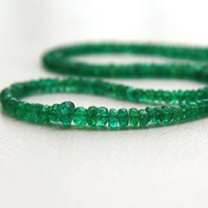 "Shop Emerald Faceted Beads! Genuine Emerald Beads 2 To 5mm Faceted Rondelle Beads 43cm / 17"" Strand Loose Brazilian Emerald Graduated Beads May Birthstone 