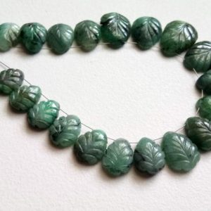 8x11mm – 13x16mm Emerald Beads, Natural Emerald Hand Carved Leaf Shape Flat Back Beads, 4 Inch Emerald Fancy Leaf Beads For Jewelry – PDG56 | Natural genuine other-shape Gemstone beads for beading and jewelry making.  #jewelry #beads #beadedjewelry #diyjewelry #jewelrymaking #beadstore #beading #affiliate #ad