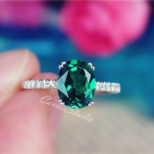 7*9 mm Oval Emerald Ring Emerald Engagement Ring Promise Ring Anniversary Ring Birthday Present Free Express Shipping | Natural genuine Gemstone rings, simple unique alternative gemstone engagement rings. #rings #jewelry #bridal #wedding #jewelryaccessories #engagementrings #weddingideas #affiliate #ad