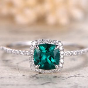 Emerald Engagement Ring 6mm Cushion Cut Emerald Ring 14K White Gold May Birthstone Ring Emerald Halo Ring Pave Diamond Wedding Ring | Natural genuine Gemstone rings, simple unique alternative gemstone engagement rings. #rings #jewelry #bridal #wedding #jewelryaccessories #engagementrings #weddingideas #affiliate #ad