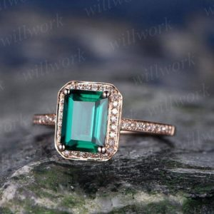 Green emerald engagement ring rose gold diamond halo ring emerald ring vintage antique art deco Lab wedding bridal promise ring for her | Natural genuine Array jewelry. Buy handcrafted artisan wedding jewelry.  Unique handmade bridal jewelry gift ideas. #jewelry #beadedjewelry #gift #crystaljewelry #shopping #handmadejewelry #wedding #bridal #jewelry #affiliate #ad