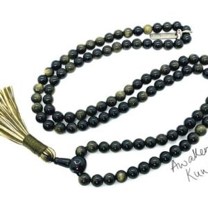 EMPATH Mala 108 beads Black Golden Sheen Obsidian Necklace Protection Gemstone Meditation Mala Psychic Protection Mala Necklace Yoga Jewelry | Natural genuine Gemstone necklaces. Buy crystal jewelry, handmade handcrafted artisan jewelry for women.  Unique handmade gift ideas. #jewelry #beadednecklaces #beadedjewelry #gift #shopping #handmadejewelry #fashion #style #product #necklaces #affiliate #ad