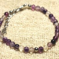 Bracelet 925 Sterling Silver And Semi Precious Fluorite Purple 4 Mm | Natural genuine Gemstone jewelry. Buy crystal jewelry, handmade handcrafted artisan jewelry for women.  Unique handmade gift ideas. #jewelry #beadedjewelry #beadedjewelry #gift #shopping #handmadejewelry #fashion #style #product #jewelry #affiliate #ad