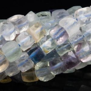 "Shop Fluorite Faceted Beads! 3MM Multicolor Fluorite Beads Faceted Cube Grade AA Genuine Natural Gemstone Loose Beads 15"" / 7.5"" Bulk Lot Options (111637) 