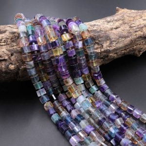 "AAA Natural Fluorite Faceted Rondelle Tube Cylinder Beads Laser Diamond Cut Rainbow Purple Green Blue Yellow Gemstone 15.5"" Strand 