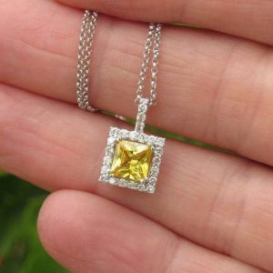 Shop Yellow Sapphire Pendants! Genuine Princess Yellow Sapphire Pendant Diamond Halo in Solid 14k White Gold, Gold Chain Included, Gift for Her, Real Sapphire | Natural genuine Yellow Sapphire pendants. Buy crystal jewelry, handmade handcrafted artisan jewelry for women.  Unique handmade gift ideas. #jewelry #beadedpendants #beadedjewelry #gift #shopping #handmadejewelry #fashion #style #product #pendants #affiliate #ad