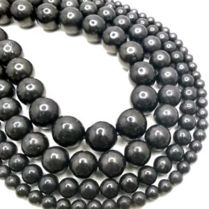 SALE !!! Genuine 100% Natural Shungite Smooth Gemstone Anti Radiation High Carbon Grade AAA 4mm 6mm 8mm 10mm 12mm Round Loose Beads (A276) | Natural genuine round Shungite beads for beading and jewelry making.  #jewelry #beads #beadedjewelry #diyjewelry #jewelrymaking #beadstore #beading #affiliate #ad