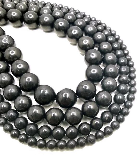 Sale !!! Genuine 100% Natural Shungite Smooth Gemstone Anti Radiation High Carbon Grade Aaa 4mm 6mm 8mm 10mm 12mm Round Loose Beads (a276)