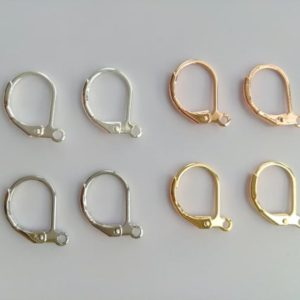 Shop Ear Wires & Posts for Making Earrings! Wholesale gold plated brass leverback earring hooks, hinged ear wire findings, earring making supplies, 10x13mm | Shop jewelry making and beading supplies, tools & findings for DIY jewelry making and crafts. #jewelrymaking #diyjewelry #jewelrycrafts #jewelrysupplies #beading #affiliate #ad