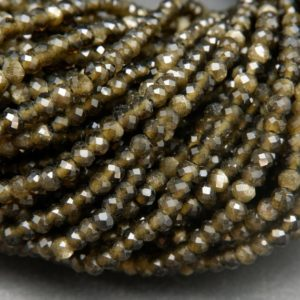 Shop Golden Obsidian Beads! Golden Obsidian · Microfaceted · Rondelle · 3mm, 4mm | Natural genuine rondelle Golden Obsidian beads for beading and jewelry making.  #jewelry #beads #beadedjewelry #diyjewelry #jewelrymaking #beadstore #beading #affiliate #ad