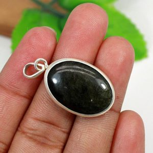 Shop Golden Obsidian Pendants! Golden Sheen Obsidian Pendant-Solid 925 Sterling Silver Setting-Oval Stone-Bezel Set-Obsidian Jewelry-Jewelry Making-Women's Jewelry-Vintage | Natural genuine Golden Obsidian pendants. Buy crystal jewelry, handmade handcrafted artisan jewelry for women.  Unique handmade gift ideas. #jewelry #beadedpendants #beadedjewelry #gift #shopping #handmadejewelry #fashion #style #product #pendants #affiliate #ad