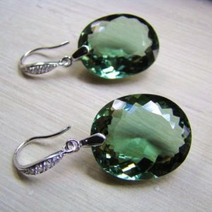 Shop Green Amethyst Earrings! Sale Luxury Green Amethyst Stone Earrings. Sterling Silver Pave Earwires. | Natural genuine Green Amethyst earrings. Buy crystal jewelry, handmade handcrafted artisan jewelry for women.  Unique handmade gift ideas. #jewelry #beadedearrings #beadedjewelry #gift #shopping #handmadejewelry #fashion #style #product #earrings #affiliate #ad