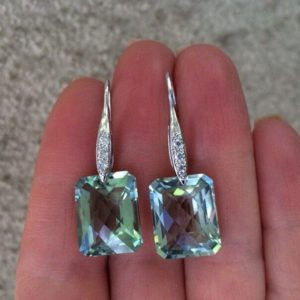 Green Amethyst stone Earrings, sterling silver Pave, luxury jewelry, February birthstone jewelry | Natural genuine Green Amethyst earrings. Buy crystal jewelry, handmade handcrafted artisan jewelry for women.  Unique handmade gift ideas. #jewelry #beadedearrings #beadedjewelry #gift #shopping #handmadejewelry #fashion #style #product #earrings #affiliate #ad