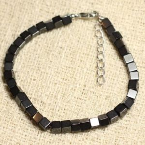 Bracelet 925 sterling silver and stone – Hematite Cubes 4mm | Natural genuine Array bracelets. Buy crystal jewelry, handmade handcrafted artisan jewelry for women.  Unique handmade gift ideas. #jewelry #beadedbracelets #beadedjewelry #gift #shopping #handmadejewelry #fashion #style #product #bracelets #affiliate #ad