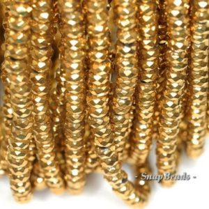 Shop Hematite Faceted Beads! 6x4mm Gold Hematite Gemstone Gold Faceted Rondelle 6x4mm Loose Beads 15.5 inch Full Strand (90188972-149) | Natural genuine faceted Hematite beads for beading and jewelry making.  #jewelry #beads #beadedjewelry #diyjewelry #jewelrymaking #beadstore #beading #affiliate #ad