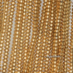 Shop Hematite Rondelle Beads! 4x3mm Gold Hematite Gemstone Gold Rondelle Heishi 4x3mm Loose Beads 16 inch Full Strand (90188986-149a) | Natural genuine rondelle Hematite beads for beading and jewelry making.  #jewelry #beads #beadedjewelry #diyjewelry #jewelrymaking #beadstore #beading #affiliate #ad