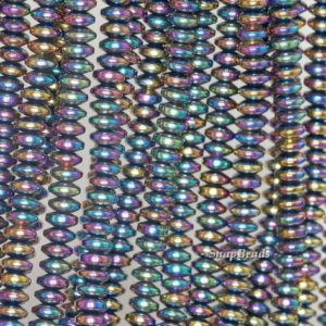 Shop Hematite Rondelle Beads! 6x3mm Titanium Hematite Gemstone Rainbow Rondelle Heishi 6x3mm Loose Beads 16 inch Full Strand (90189044-149) | Natural genuine rondelle Hematite beads for beading and jewelry making.  #jewelry #beads #beadedjewelry #diyjewelry #jewelrymaking #beadstore #beading #affiliate #ad