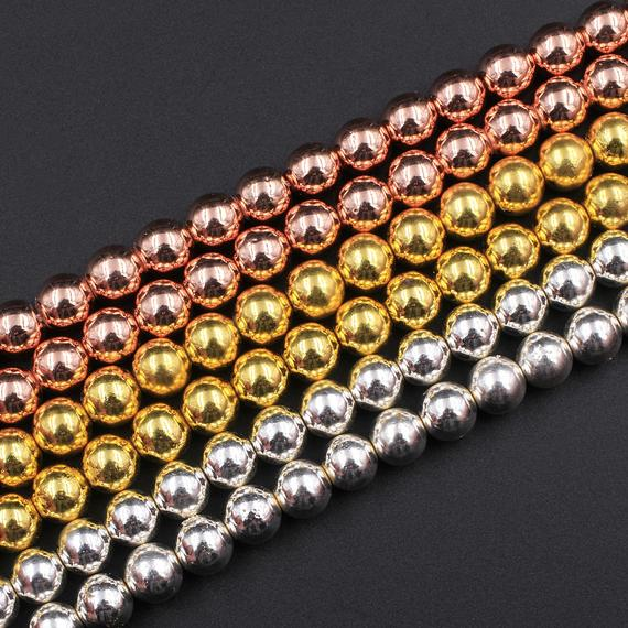 "Titanium Hematite Round Beads Electroplated Bright Silver Rose Gold 2mm 3mm 4mm 6mm 8mm 15.5"" Strand"