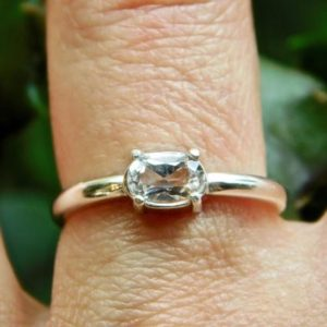 Shop Herkimer Diamond Rings! Faceted Herkimer Diamond Clear Crystal Ring 4x6mm NY Quartz Crystal Sterling Silver, Oval Gem Genuine, Boho, Minimalist   Natural genuine Herkimer Diamond rings, simple unique handcrafted gemstone rings. #rings #jewelry #shopping #gift #handmade #fashion #style #affiliate #ad