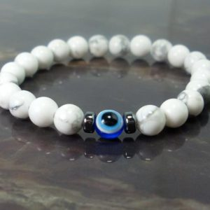Shop Howlite Bracelets! Children's Bracelet White Howlite and Evil Eye, Bracelet for Children, Nazar Bracelet, Gemstone Bracelet, Kids Bracelet, Gift for Children | Natural genuine Howlite bracelets. Buy crystal jewelry, handmade handcrafted artisan jewelry for women.  Unique handmade gift ideas. #jewelry #beadedbracelets #beadedjewelry #gift #shopping #handmadejewelry #fashion #style #product #bracelets #affiliate #ad
