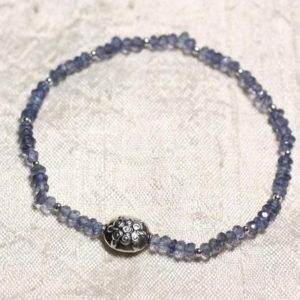 Shop Iolite Bracelets! Bracelet 925 Sterling Silver And Stone – Iolite Blue Clear Faceted Rondelle 3mm | Natural genuine Iolite bracelets. Buy crystal jewelry, handmade handcrafted artisan jewelry for women.  Unique handmade gift ideas. #jewelry #beadedbracelets #beadedjewelry #gift #shopping #handmadejewelry #fashion #style #product #bracelets #affiliate #ad