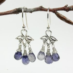 Shop Iolite Earrings! Iolite Earrings Sterling Silver wire wrapped genuine natural indigo blue gemstone chandeliers september birthstone gift for her women 5830 | Natural genuine Iolite earrings. Buy crystal jewelry, handmade handcrafted artisan jewelry for women.  Unique handmade gift ideas. #jewelry #beadedearrings #beadedjewelry #gift #shopping #handmadejewelry #fashion #style #product #earrings #affiliate #ad