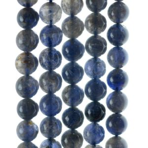 Shop Iolite Beads! 7-8mm Bermudan Blue Iolite Gemstone Grade AB Round Loose Beads 7 inch Half Strand (90142962-832) | Natural genuine beads Iolite beads for beading and jewelry making.  #jewelry #beads #beadedjewelry #diyjewelry #jewelrymaking #beadstore #beading #affiliate #ad