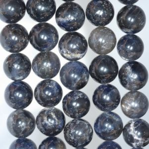 Shop Iolite Round Beads! 9-10MM Dark Blue Iolite Gemstone Grade A Round Loose Beads 7 inch Half Strand (80001166-A158) | Natural genuine round Iolite beads for beading and jewelry making.  #jewelry #beads #beadedjewelry #diyjewelry #jewelrymaking #beadstore #beading #affiliate #ad