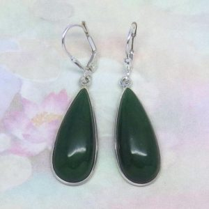 Nephrite Jade Earrings Leverback Dangle 925 Sterling Silver – Genuine Natural – Large ish – Teardrop Pear Shape – Green – Long – su171678 | Natural genuine Gemstone earrings. Buy crystal jewelry, handmade handcrafted artisan jewelry for women.  Unique handmade gift ideas. #jewelry #beadedearrings #beadedjewelry #gift #shopping #handmadejewelry #fashion #style #product #earrings #affiliate #ad