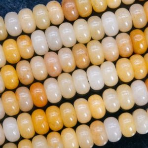 Shop Jade Rondelle Beads! Genuine Natural Yellow Jade Loose Beads Rondelle Shape 10x6MM | Natural genuine rondelle Jade beads for beading and jewelry making.  #jewelry #beads #beadedjewelry #diyjewelry #jewelrymaking #beadstore #beading #affiliate #ad