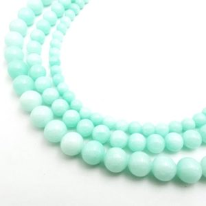 "Shop Jade Round Beads! Aqua Blue Dyed Jade Smooth Round Beads 6mm 8mm 10mm 15.5"" Strand 