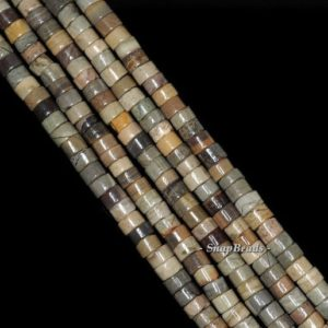 Shop Jasper Rondelle Beads! Silver Leaf Jasper Gemstone Heishi Rondelle 4x2mm Loose Beads 16 inch full Strand (90143594-174) | Natural genuine rondelle Jasper beads for beading and jewelry making.  #jewelry #beads #beadedjewelry #diyjewelry #jewelrymaking #beadstore #beading #affiliate #ad