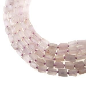 """Shop Kunzite Beads! Natural Kunzite Matte Cylinder Tube Beads Approx 7x10mm 15.5"""" Strand 