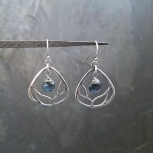 Shop Kyanite Earrings! Branch cut out earrings, moss kyanite dangle, sterling silver triangular shaped earrings, genuine blue briolette gemstone | Natural genuine Kyanite earrings. Buy crystal jewelry, handmade handcrafted artisan jewelry for women.  Unique handmade gift ideas. #jewelry #beadedearrings #beadedjewelry #gift #shopping #handmadejewelry #fashion #style #product #earrings #affiliate #ad