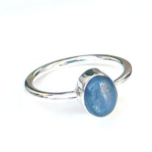 Shop Kyanite Rings! Simple Kyanite Ring, Oval Stone Ring, Blue Stone Ring, Sterling Silver Ring, Natural Kyanite Ring, Dainty Ring, Tiny, Mini, Wesrtern Ring | Natural genuine Kyanite rings, simple unique handcrafted gemstone rings. #rings #jewelry #shopping #gift #handmade #fashion #style #affiliate #ad
