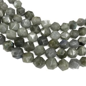 Shop Labradorite Faceted Beads! Faceted Gray Labradorite Beads, Star Cut Beads, Gemstone Beads, 8mm, 10mm | Natural genuine faceted Labradorite beads for beading and jewelry making.  #jewelry #beads #beadedjewelry #diyjewelry #jewelrymaking #beadstore #beading #affiliate #ad