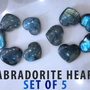 Shop Labradorite Shapes! Set of 5 Labradorite Heart Stone 30-40mm Wholesale Bulk Lot | Natural genuine stones & crystals in various shapes & sizes. Buy raw cut, tumbled, or polished gemstones for making jewelry or crystal healing energy vibration raising reiki stones. #crystals #gemstones #crystalhealing #crystalsandgemstones #energyhealing #affiliate #ad